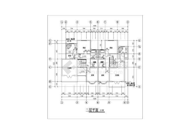 某地住宅区联体别墅建筑设计方案cad图-图3