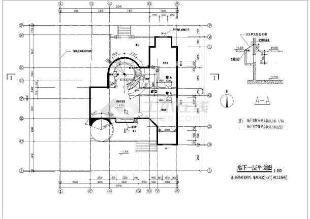 某花园式小别墅建筑设计cad图-图2