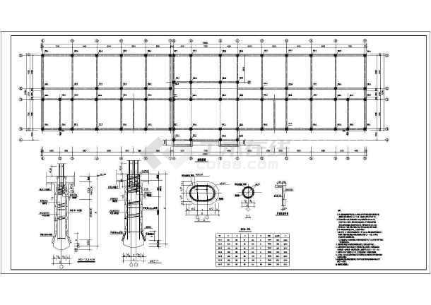 学校教学楼框架结构cad施工图(共9张)-图1