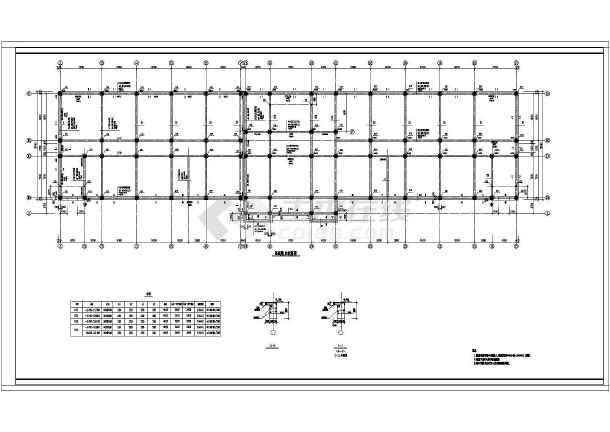 学校教学楼框架结构cad施工图(共9张)-图2