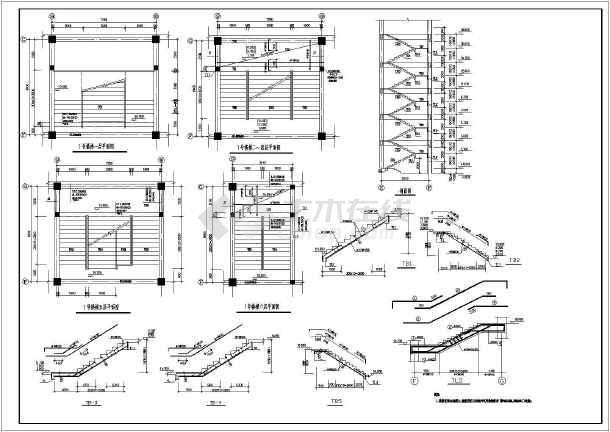 学校教学楼框架结构cad施工图(共9张)-图3