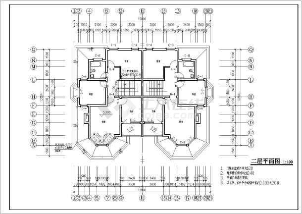 某二层别墅全套建施图-图1