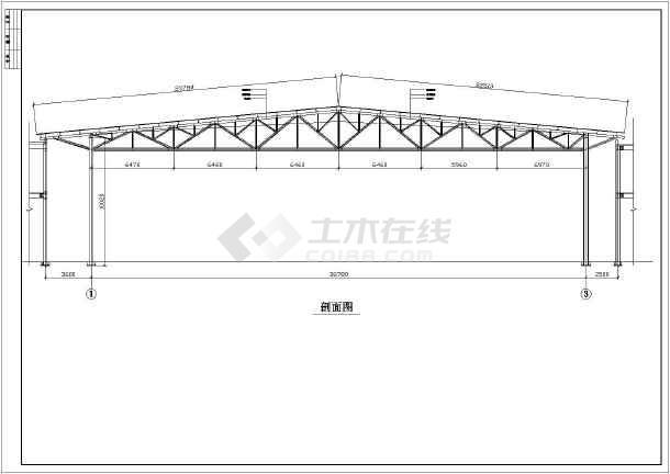 38米跨度大开间钢结构施工图-图3