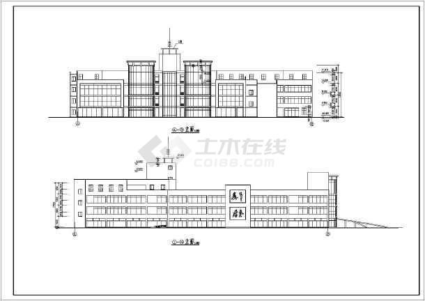 点击查看商业广场平立面建筑施工设计CAD图第1张大图