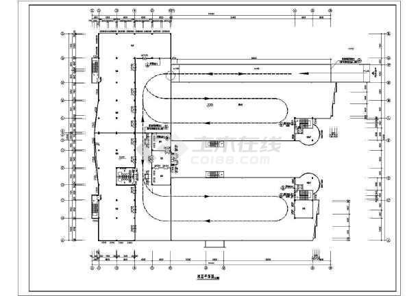 点击查看商业广场平立面建筑施工设计CAD图第2张大图