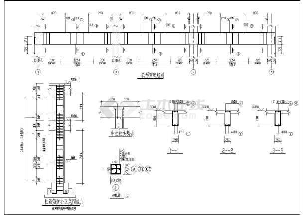 江畔明珠小区大门建筑设计图-图2