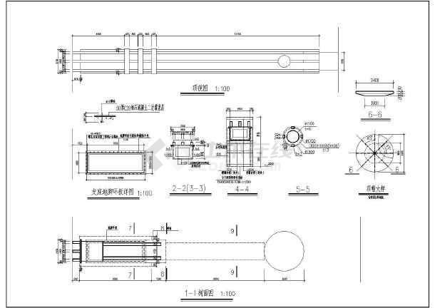 江畔明珠小区大门建筑设计图-图3