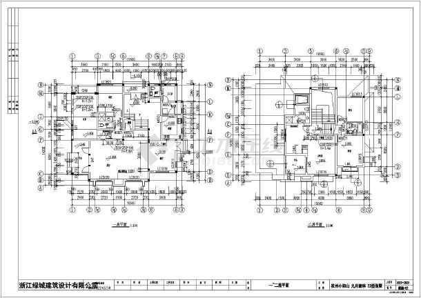 某高档住宅区小别墅建筑设计cad图-图1