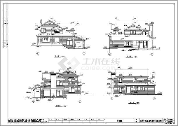 某高档住宅区小别墅建筑设计cad图-图2