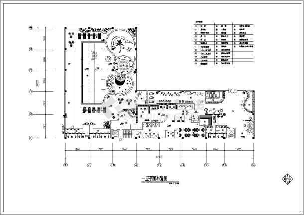 某洗浴中心建筑设计CAD平面布置图-图1