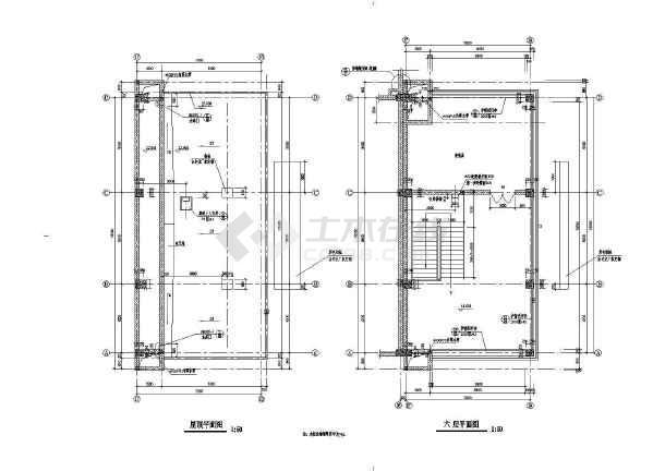 某商业街塔楼建筑施工设计CAD图-图2