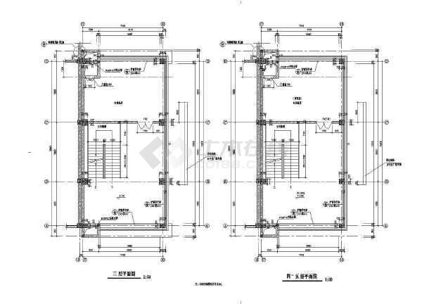 某商业街塔楼建筑施工设计CAD图-图3