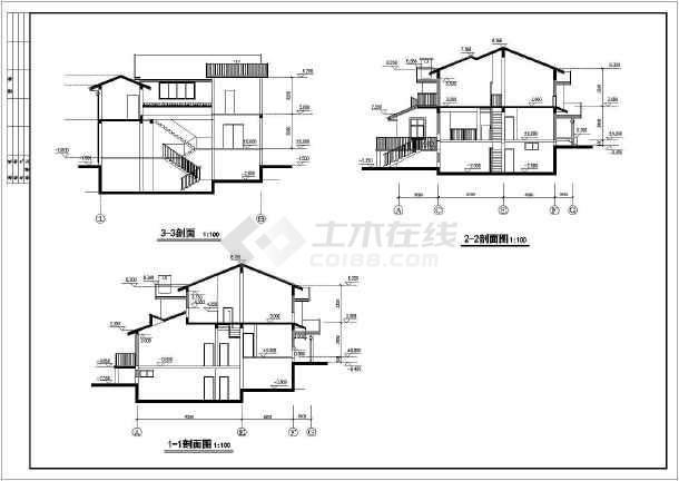 现代风格别墅完整建筑设计图纸-图3