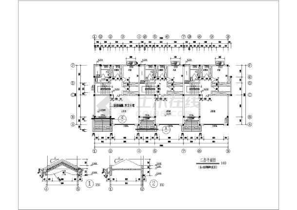 某独立联排别墅建筑施工图-图1