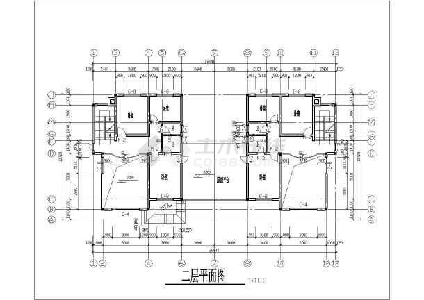 某联排小别墅建筑设计cad方案图-图1