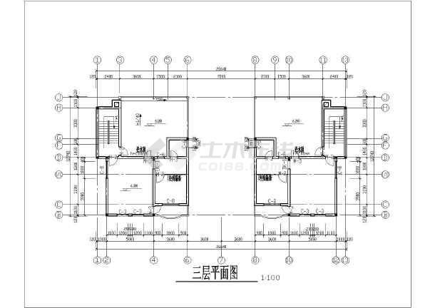 某联排小别墅建筑设计cad方案图-图2
