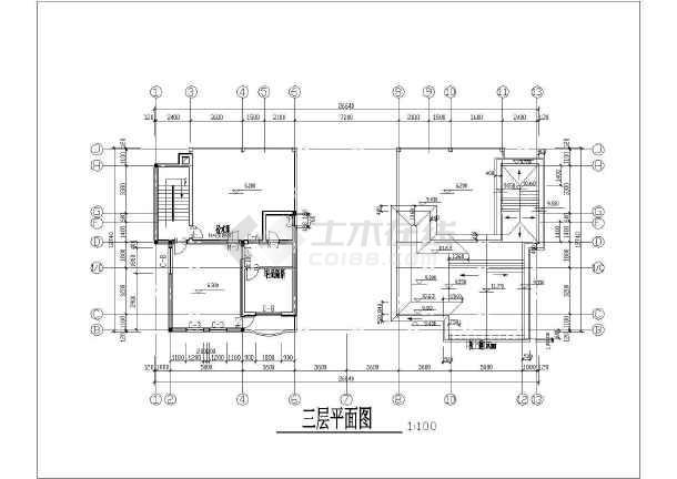 某联排小别墅建筑设计cad方案图-图3