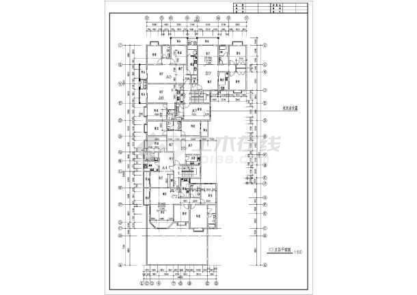 九龙园多层住宅楼建筑设计平面图-图1
