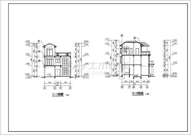 点击查看乡村别墅建筑结构设计图纸第1张大图