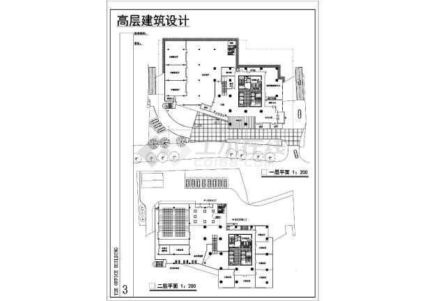 某地高层综合楼建筑设计图-图1