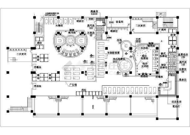 某桑拿水疗城建筑设计CAD水区总平面图-图1