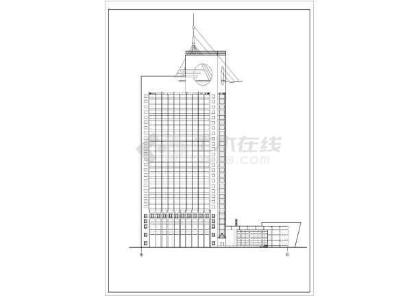 谋反高层宾馆建筑设计方案图-图1