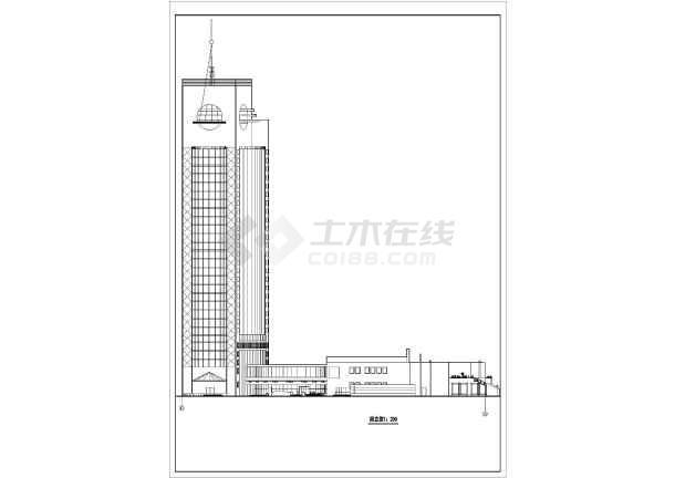 谋反高层宾馆建筑设计方案图-图3