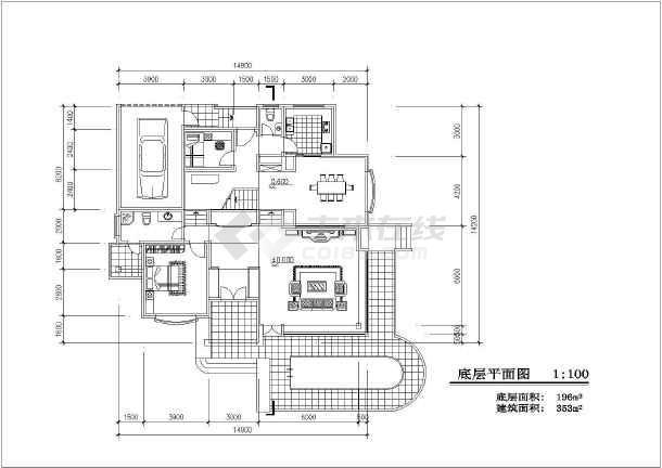 353平米别墅建筑设计图纸-图1