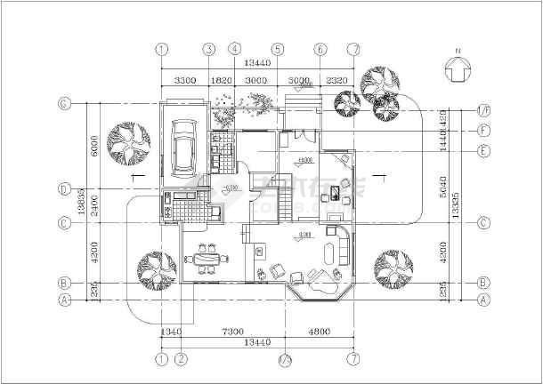 独立欧式别墅建筑设计施工图-图1