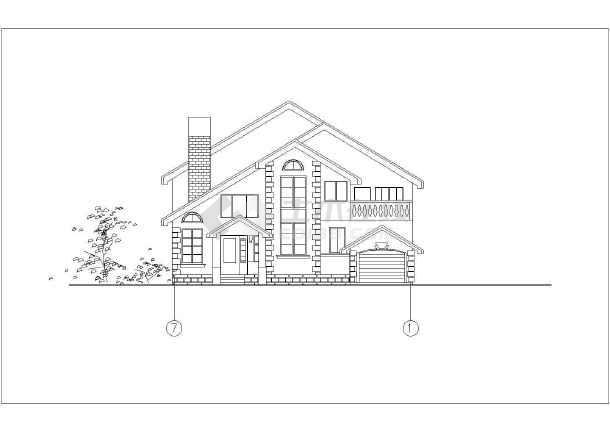 独立欧式别墅建筑设计施工图-图3