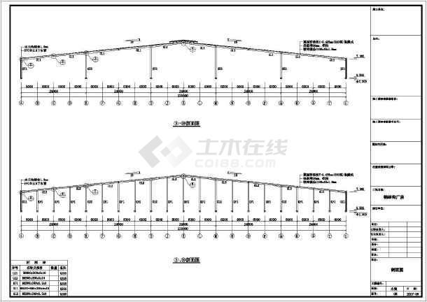 某木业公司钢结构厂房CAD图纸-图二