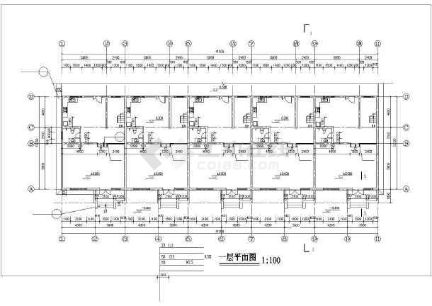 一套酒店公寓建筑cad施工图纸-图1