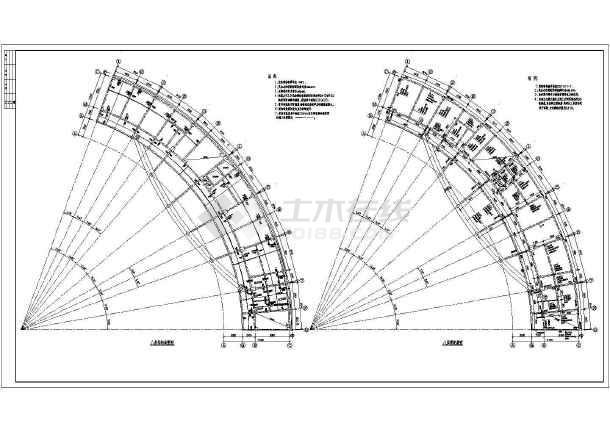 某弧形办公楼框架结构施工图-图二