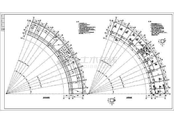 某弧形办公楼框架结构施工图-图3