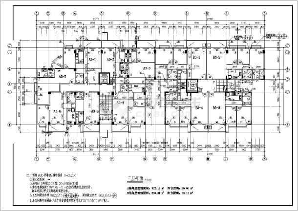 某地大型高层商住楼建筑图-图2