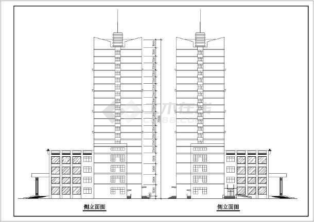 某地大型高层酒店建筑方案图-图二