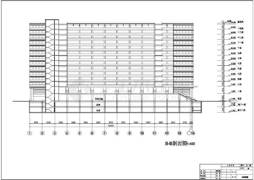 某地十四层商业综合楼建筑施工图-图一