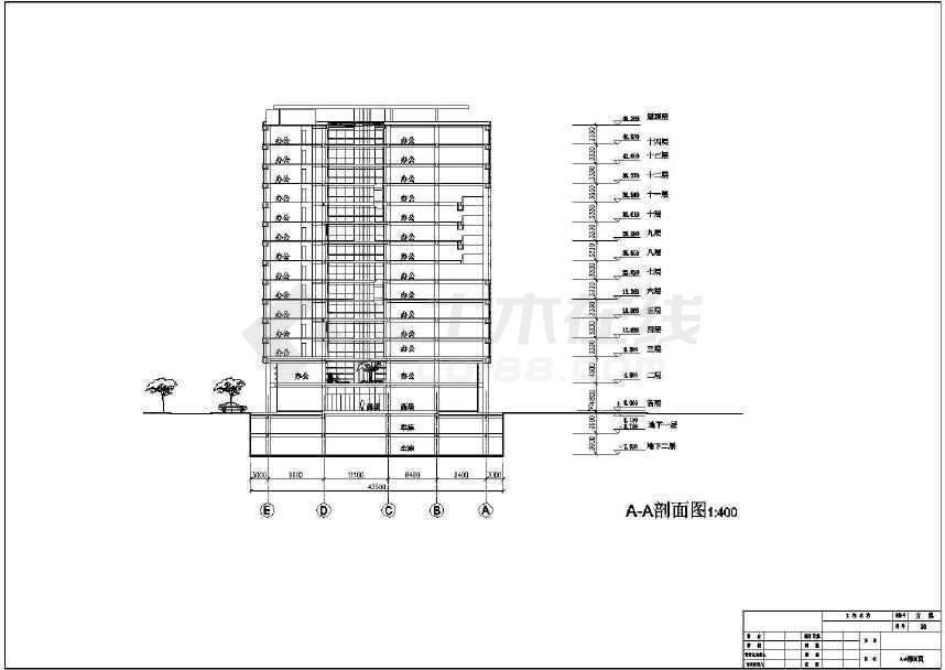 某地十四层商业综合楼建筑施工图-图二