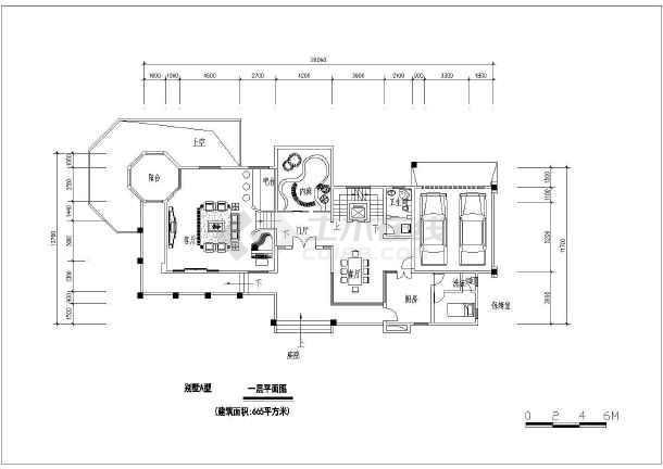 某带地下室小别墅建筑设计方案图-图1