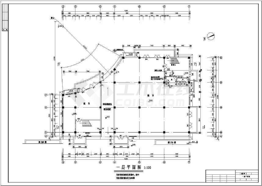某地四层框架商场建筑结构水暖电施工图-图1