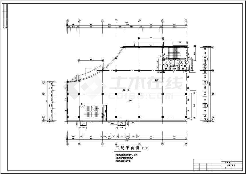 某地四层框架商场建筑结构水暖电施工图-图3