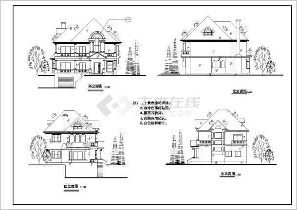 多层小别墅建筑设计施工CAD图-图3