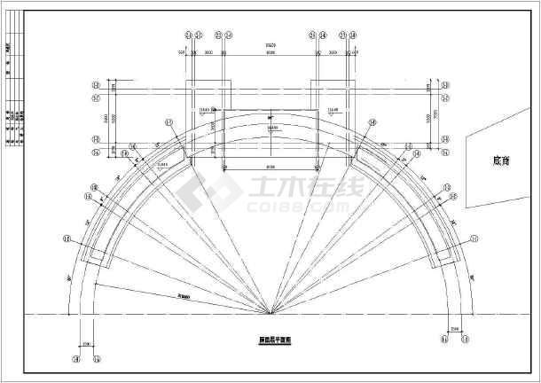 某住宅小区大门建筑施工图纸(共6张)-图1