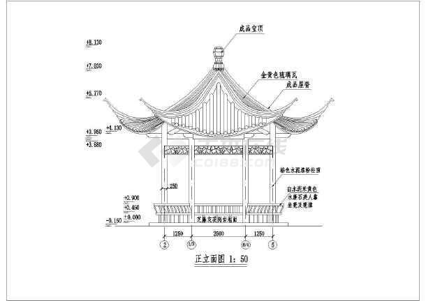 钢筋混凝土六角亭详细建筑设计施工cad图-图2