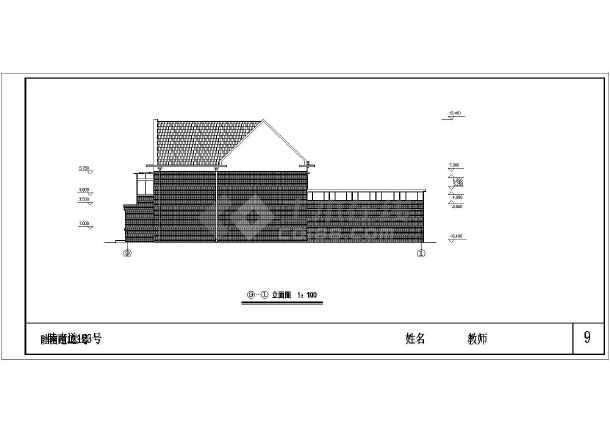 复式小别墅建筑设计图纸-图3