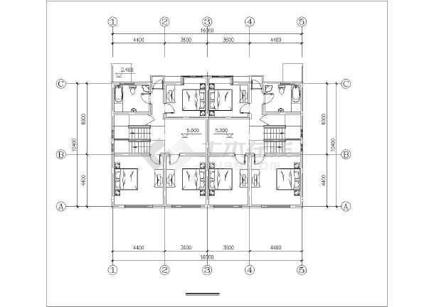 沿街小别墅建筑设计图纸-图1