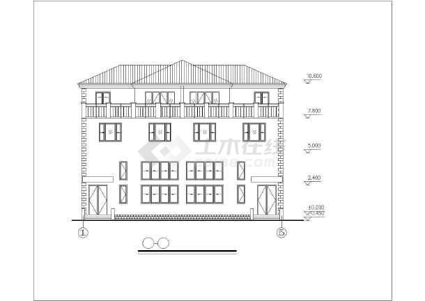 沿街小别墅建筑设计图纸-图3