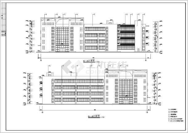 某四层医院病房楼建筑设计方案CAD图-图3