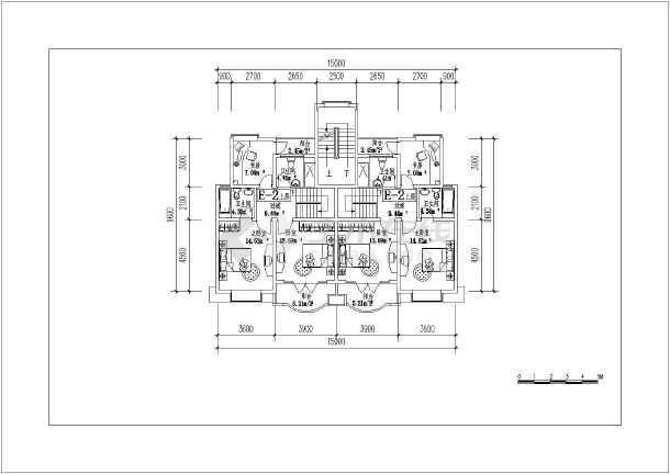 某地复式房型建筑cad平面图-图1