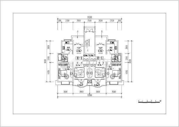 某地复式房型建筑cad平面图-图2
